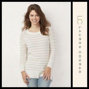 LC Lauren Conrad Striped Tunic White Pink Sweater